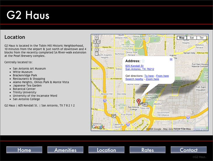G2 Haus Location Page with live Google Map
